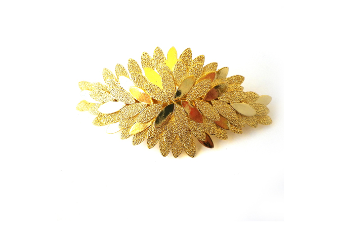 Art Deco Inspired Leaf Clip in Gold Colour Finish