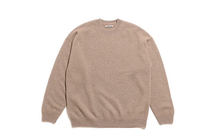 AURALEE/Baby Cashmere Knit P/O-Natural Brown