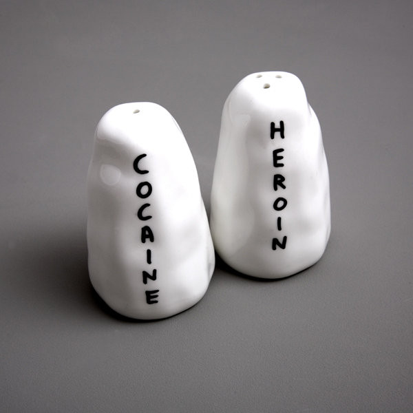 Heroin and Cocaine Salt and Pepper Shakers - David Shrigley- Shop - Third Drawer Down