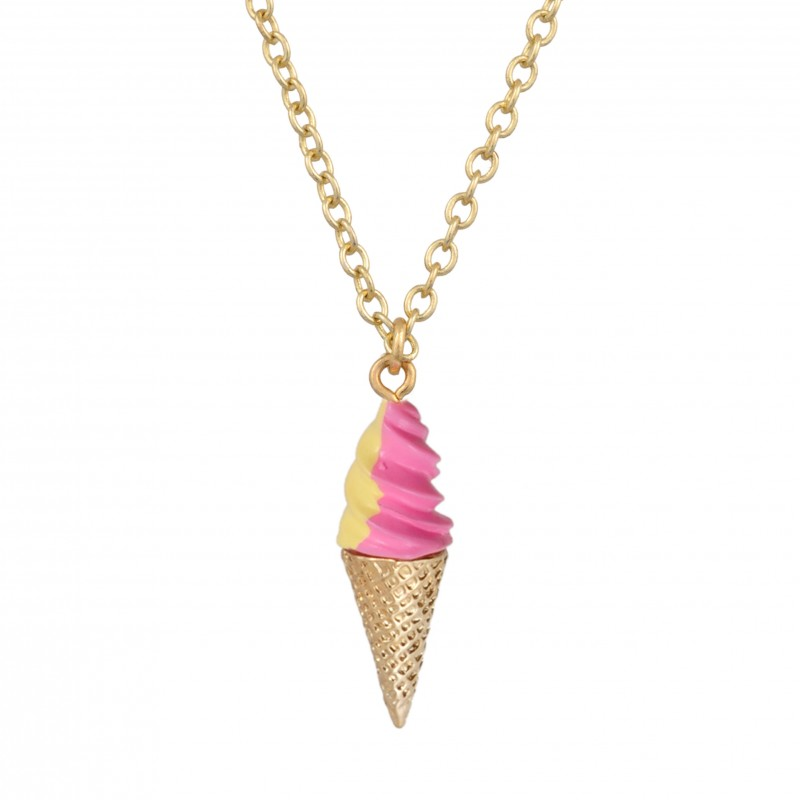 Necklace with italian ice-cream, strawberry and vanilla flavor - Les Néréides - N2