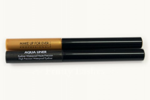 MAKE UP FOR EVER Aqua Liner 1 Diamond Gold 14 Diamond Multicolor Black Swatch and Review | Fruity Lashes – Beauty and Fine Living