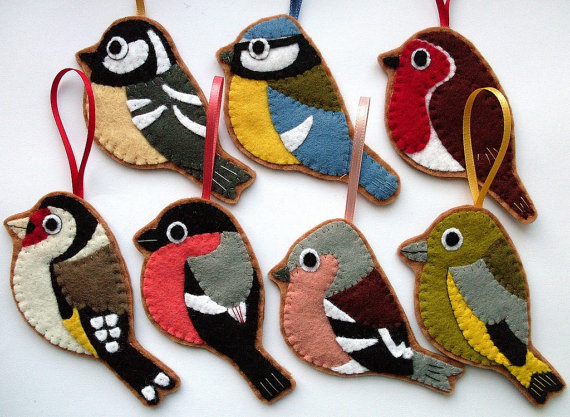 British Birds set of 7 felt Christmas ornaments by lupin on Etsy