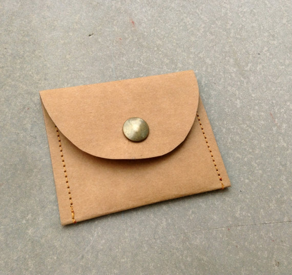 Kraft fabric paper coin purse by Belltastudio on Etsy