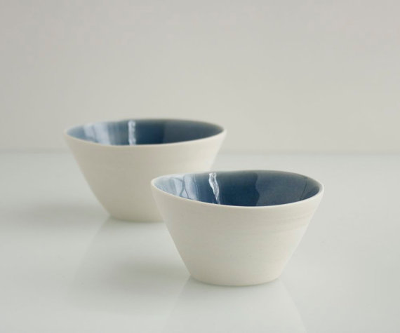 Salt and Pepper Bowls in Sapphire Blue and White by SuiteOneStudio