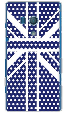 Cross dot union jack ネイビー (ソフトTPUクリア) design by ROTM / for Xperia acro HD SO-03D/docomo