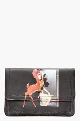 Givenchy Black Leather Baby Deer Print Clutch for women | SSENSE