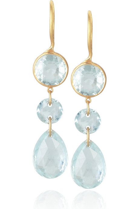 Marie-Hélène de Taillac 18-karat gold aquamarine earrings « Jewelry Trends