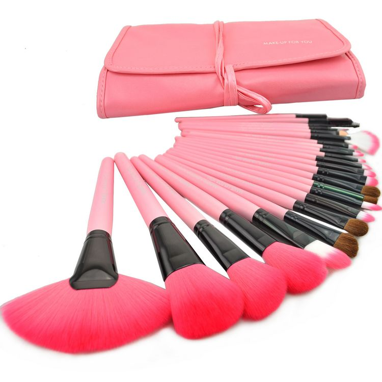 Brand New 24 Pcs/Set Makeup Brush Cosmetic Set Kit Packed In High Quality Leather Case - Pink on Luulla