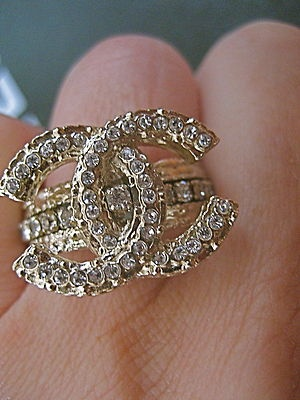 EXPENSIVE!!! / Chanel Gold Swarowski Crystals Band Ring