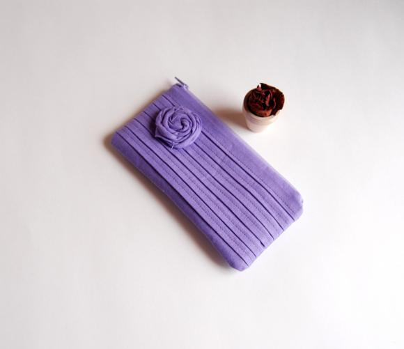 Romantic Rose Pleats In Purple Lilac Zippered Pouch, Purse, Clutch By Lolos   Luulla