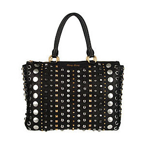 Miu Miu 'Monk' Studded Black Leather Bag | Overstock.com - Polyvore