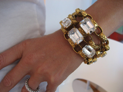 Catwalk - Blinding Diamante Vintage Chanel Quilted Link & Headlight Bracelet