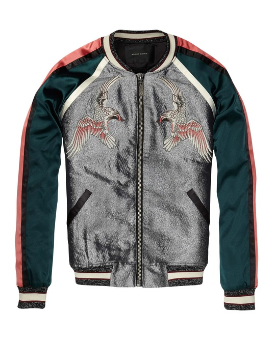 Silky Baseball Jacket With Oriental Embroideries > Womens Clothing > Jackets at Maison Scotch