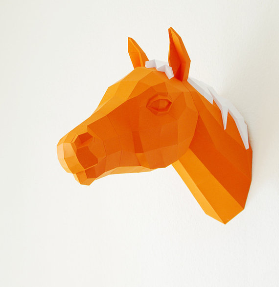 Horse Trophy Papercraft Horse template 3D Puzzle by PaperwolfsShop