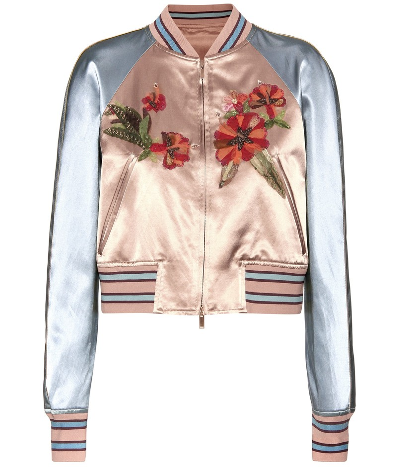 mytheresa.com - mytheresa.com online exclusive embellished satin bomber jacket - Luxury Fashion for Women / Designer clothing, shoes, bags