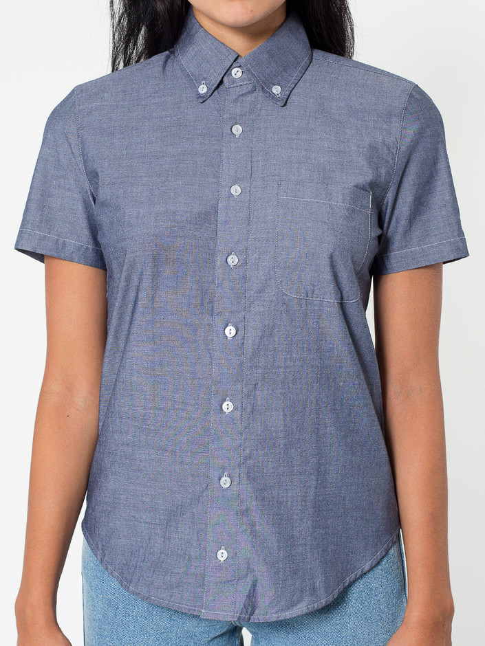 Unisex Chambray Short Sleeve Button-Down with Pocket | American Apparel