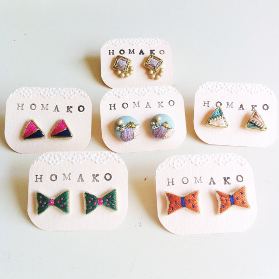 NEW Hand Embroidered Earrings Bow Orange 01 by HOMAKO on Etsy