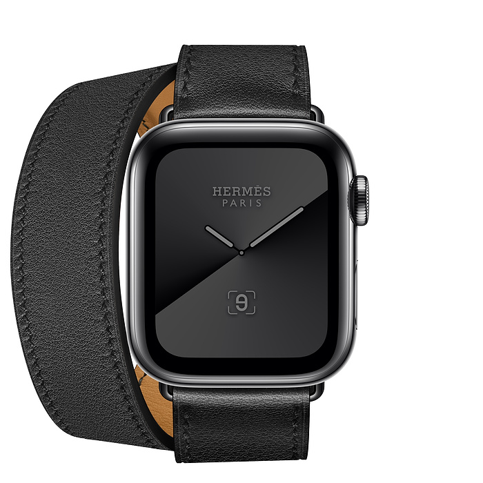 Apple Watch Hermès GPS + Cellular 40mm Space Black Stainless Steel Case with Noir Swift Leather Double Tour - Apple