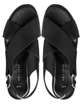 New Look | New Look Institute Leather Cross Over Flat Sandals at ASOS