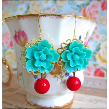 Floral Earrings Aqua Flower Red Jade Glass Earrings by Jewelsalem from etsy.com | FASHIOLISTA | love your style!