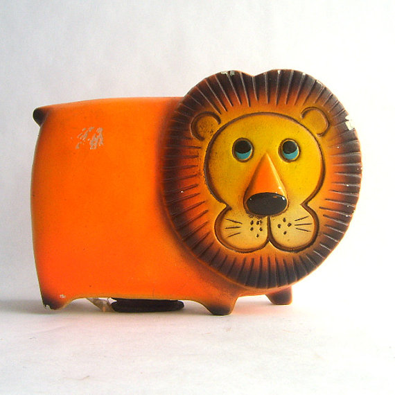 Mid Century Orange Lion Bank Figurine by SweetLoveVintage on Etsy
