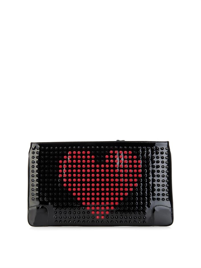 Loubiposh patent-leather spike pouch | Christian Louboutin | M...