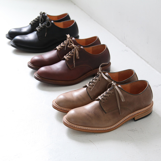 MOTO Leather & Silver レザーアンドシルバー Plain Toe Shoes - ホーウィンクロームエクセルレザー - Silver and Gold Online Store
