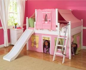 Maxtrix Kids Playhouse Loft Bed w/ Slide & Top Tent (shown... review | buy, shop with friends, sale | Kaboodle
