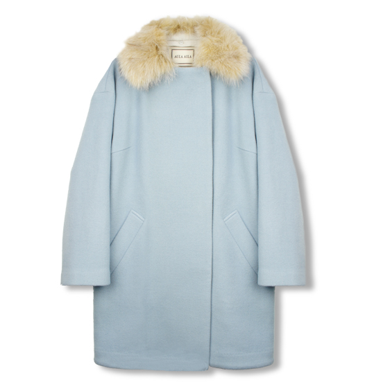SOFT LEAVER WOOL NO COLLAR COAT WITH FUR