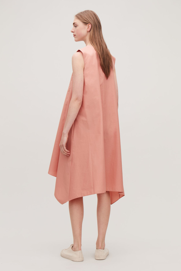 POPLIN DRESS WITH HANDKERCHIEF HEM - Light coral - Dresses - COS