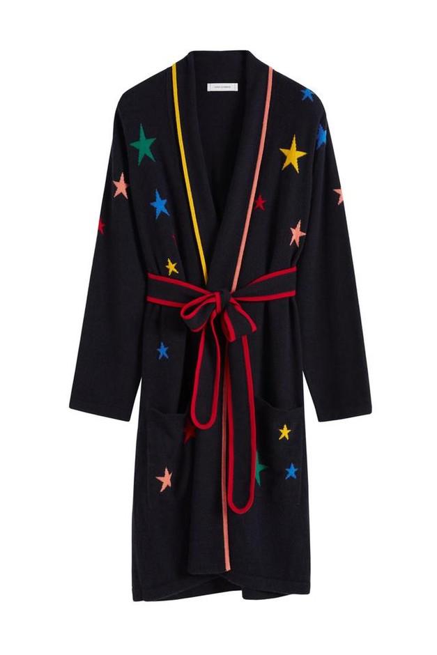 Navy Rainbow Star Cashmere Dressing Gown – Chinti & Parker UK