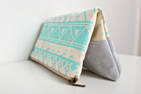 FREE SHIP Geometric Printed LeatherSuede Pouch by Corium on Etsy