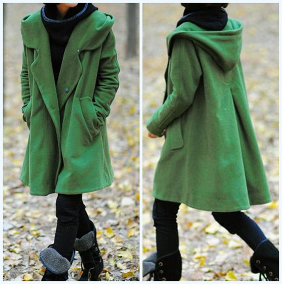grass green Hoodie Wool cape winter coat buttons for wool