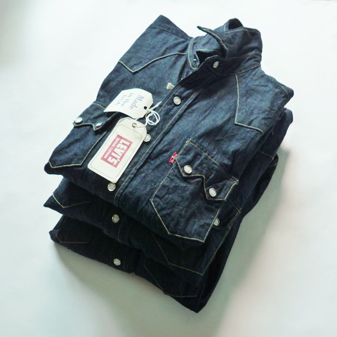 Levi's Vintage Clothing 1955 Sawtooth Denim Shirts - Silver and Gold Online Store