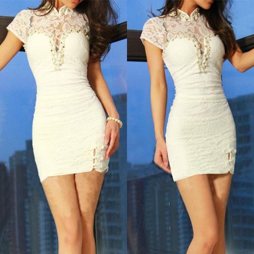lulula-fashion shopping mall — [gzxy0628]Sexy Lace Spliced Short Sleeve Slim Fit Package Hip Dress