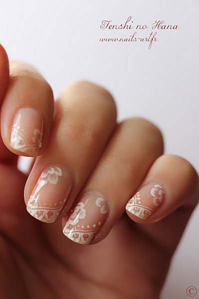 French dentelée et one stroke blanc (nail art de la FIB) - Nature Nails Nail Art by Tenshi no Hana