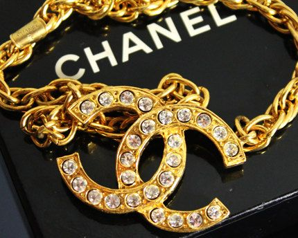 CHANEL / Vintage Mid 1970s - Mid 1980s CHANEL Gold Rhinestone Logo Necklace by fashionsquid on Etsy