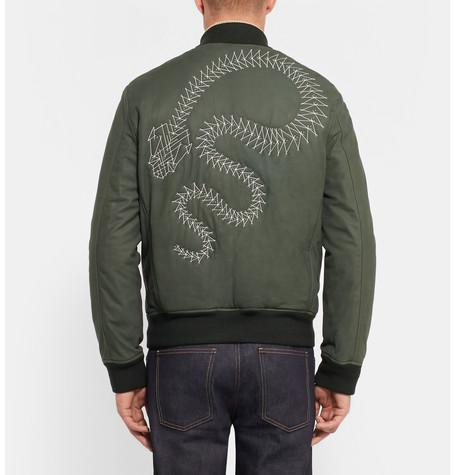 Berluti - Snake-Embroidered Leather Bomber Jacket