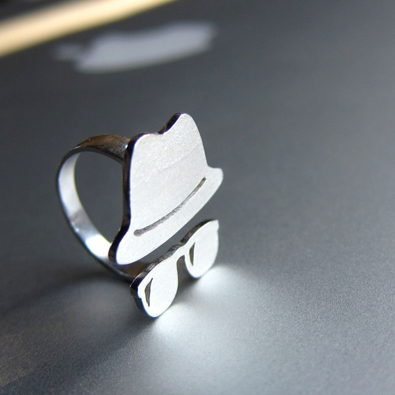 Jazz Hat with sunglasses - Handmade Silver Rings | SmilingSilverSmith handmade silver ring & jewelry