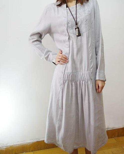 spring Linen tunic long dress /linen Coat gown by MaLieb on Etsy