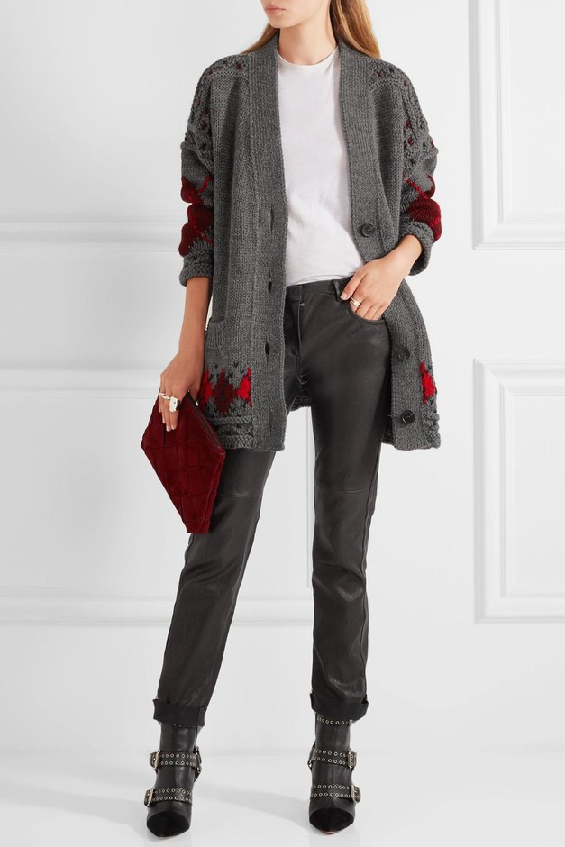 Isabel Marant | Geena oversized argyle wool and alpaca-blend cardigan  | NET-A-PORTER.COM