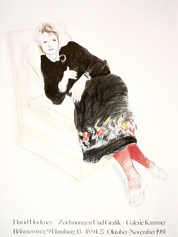 """""""Celia in a Black Dress With Colored Border"""" by David Hockney - 1973"""