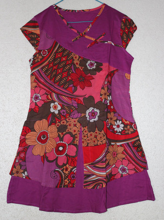 Summer Loose Fitting cotton dress in Purple