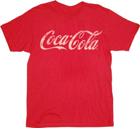 Amazon.com: Coca-Cola Coke Distressed Logo Red T-shirt Tee (Large): Clothing