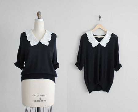 black oversized sweater / white collar sweater / short sleeve sweater