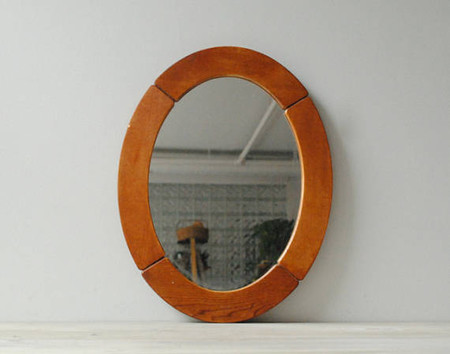 Vintage Oval Wood Mirror, Wooden Wall Mirror