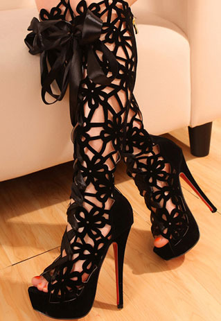 lilystyle   Cut Out Peep Toe Knee High Boots Black Red Stiletto Shoes   Online Store Powered by Storenvy