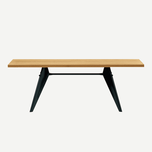 Vitra EM Table 2500 mm black / natural oak by Jean Prouvé – Tables and design classics at lachair.com