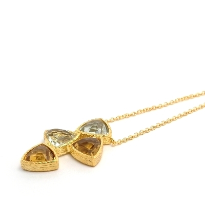 18K Gold Vermeil Green Quartz, Citrine Necklace : Arylza - Serendipity, Online Shopping For Vermeil and 925 Sterling Silver Jewelry