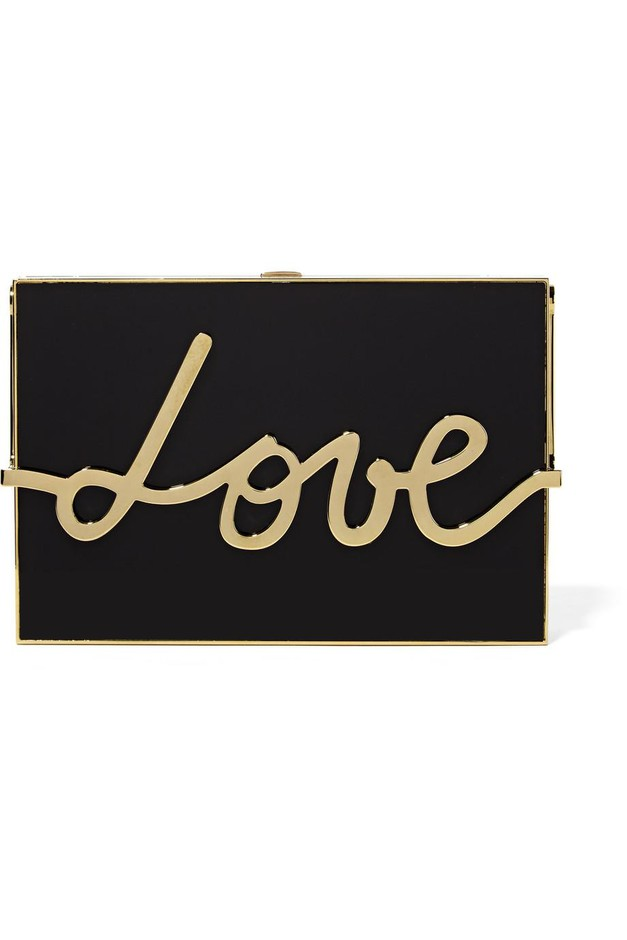 Lanvin | Love resin and gold-tone box clutch | NET-A-PORTER.COM